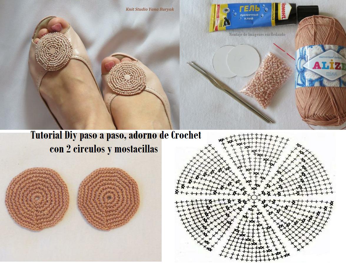 Tutorial Adorno Zapatos con 2 Circulos de Crochet - Patrones Crochet ...
