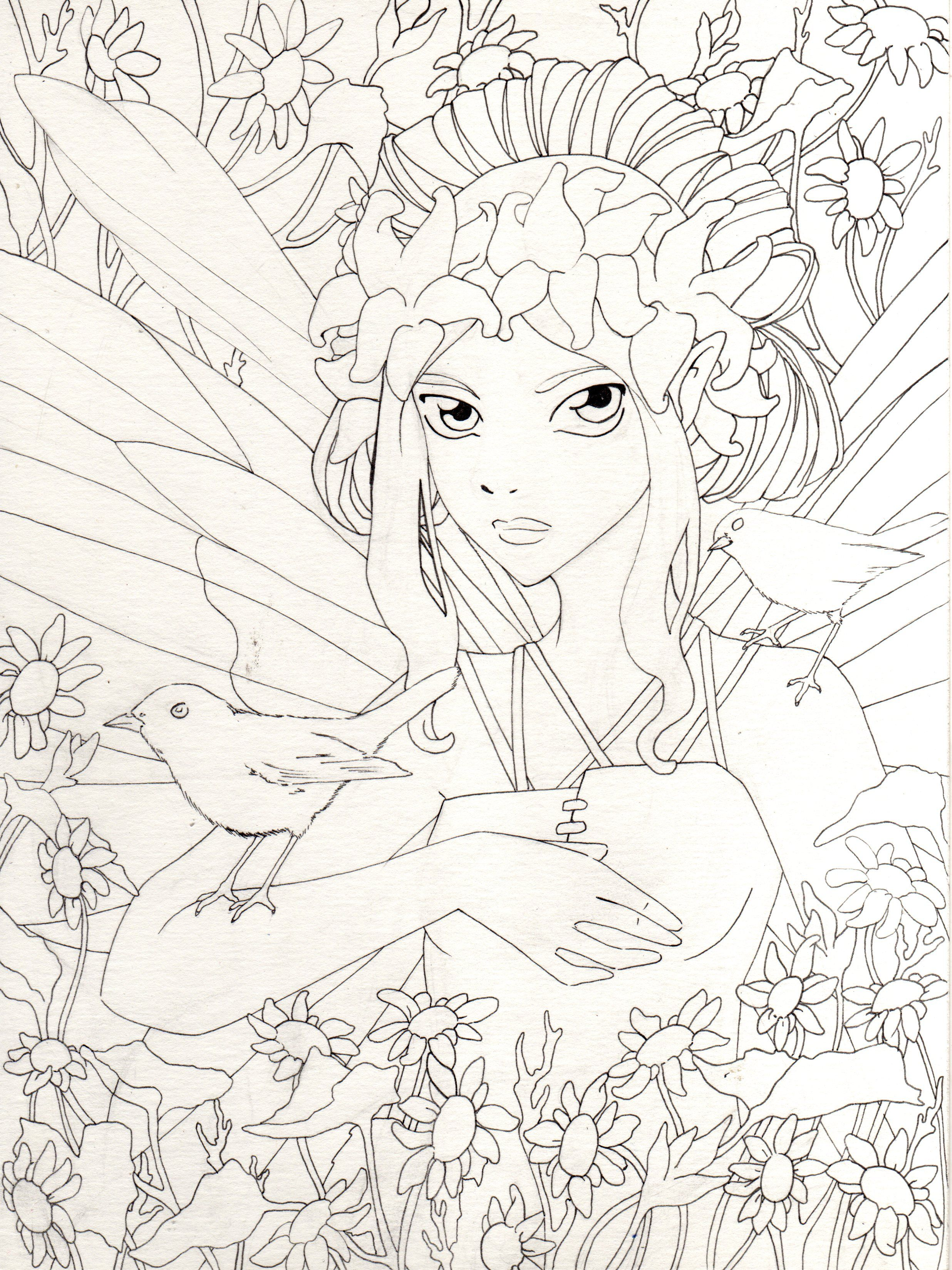 Imgg coloriage pinterest fairy adult