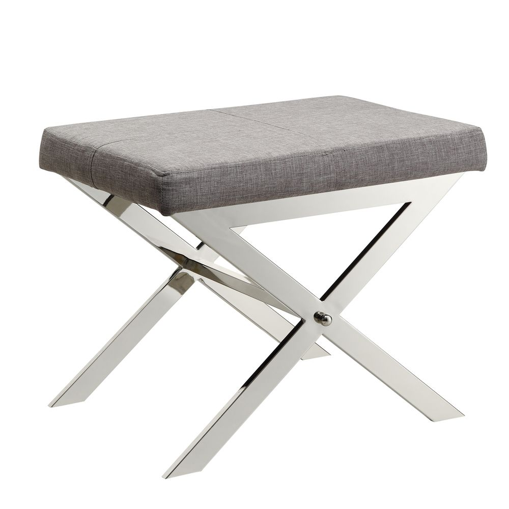 INSPIRE Q Southport Grey Linen 22-inch Metal Bench - Overstock Shopping -  Great
