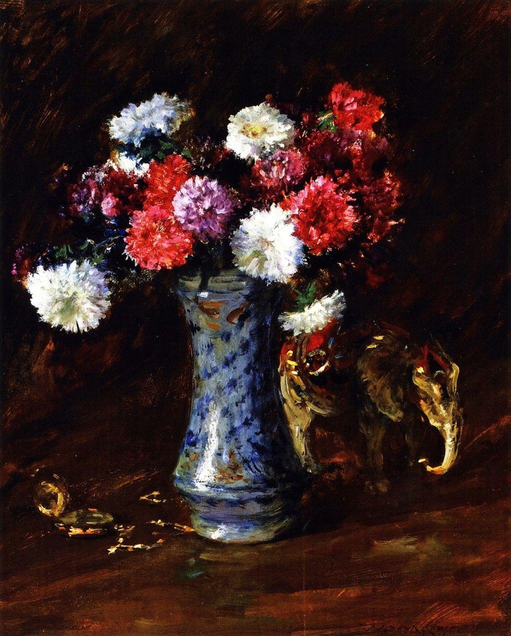 Asters William Merritt Chase Oil Painting Reproduction Flower Art Flower Painting American Art