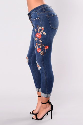 3237aa00d US Women Floral High Waist Pencil Jeans Trousers Flower Embroidered Denim  Pants