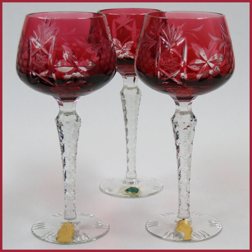 Cut Crystal Wine Glasses Colored Vintage Cut Cranberry Wine Stems 3 Cut To Clear From
