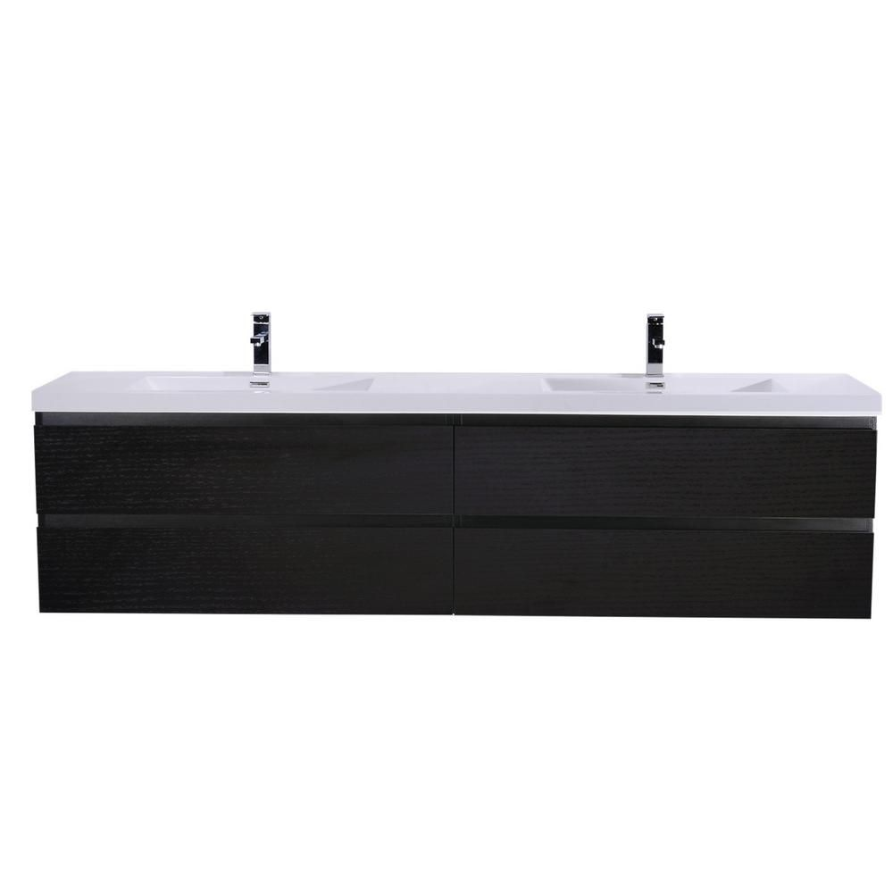 Bohemia 72 In W Bath Vanity In Rich Black With Reinforced Acrylic