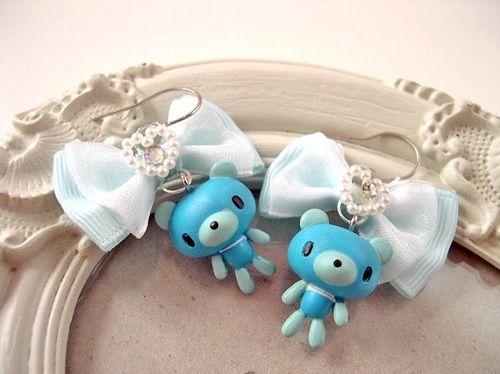 cute blue Gloomy Bear earrings made by Dina Fragola.