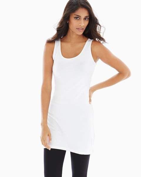 2e21a38fdcf Pima Cotton Tunic Layering Tank White | Tank tops | Cotton tunics ...