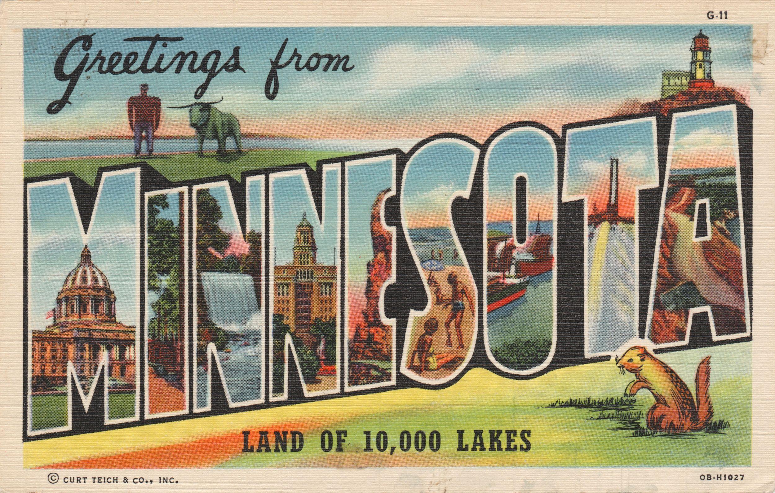 Greetings from minnesota halftone halftone art postcard