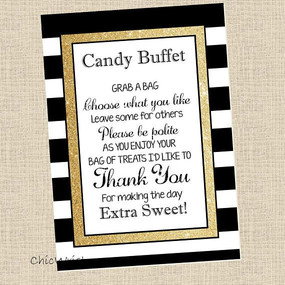 Printable Candy Buffet Sign   5X7 Sign   Gold Glam Sign   CW