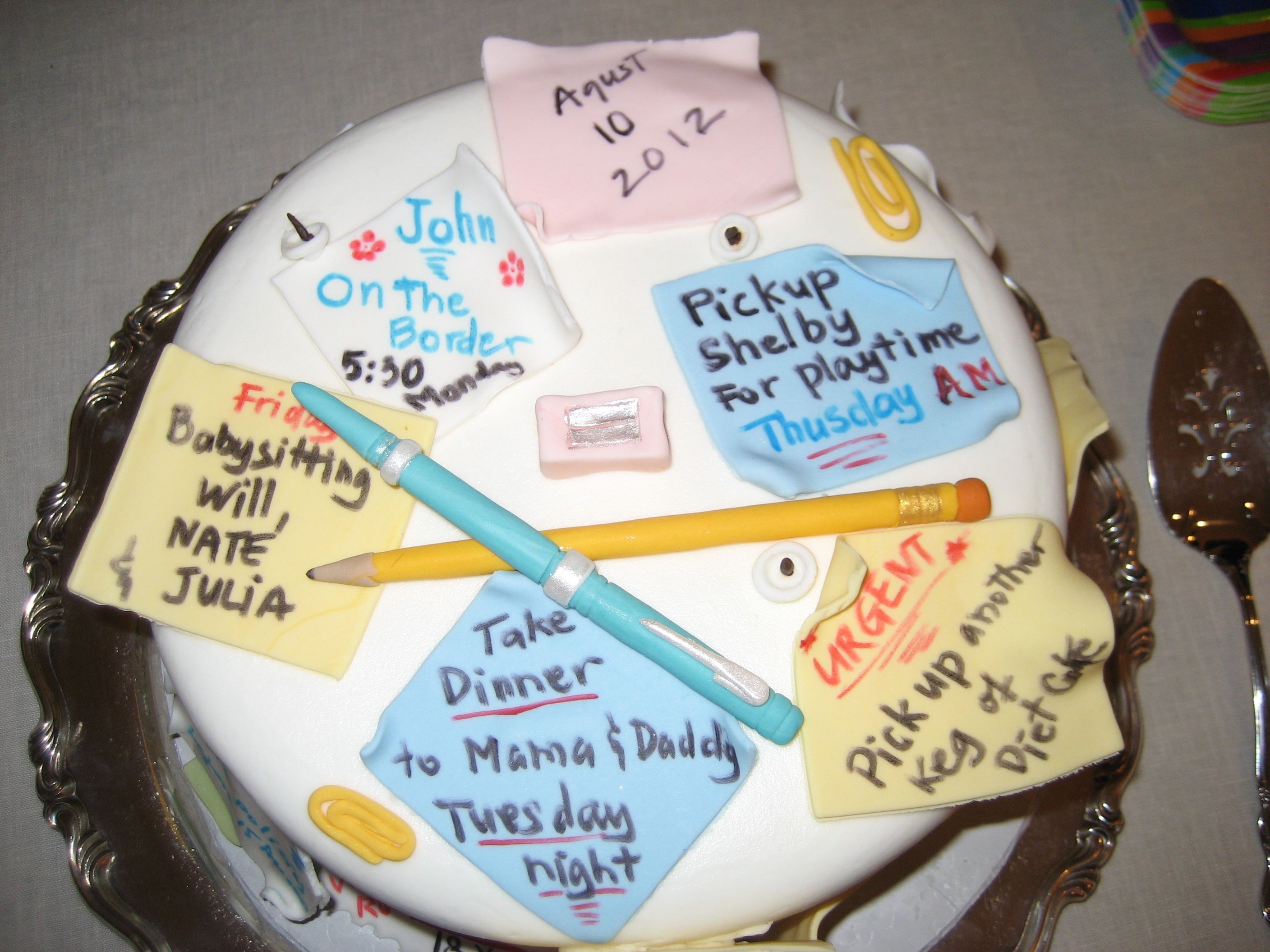My retirement cake....decorated with fondant post-it notes ...