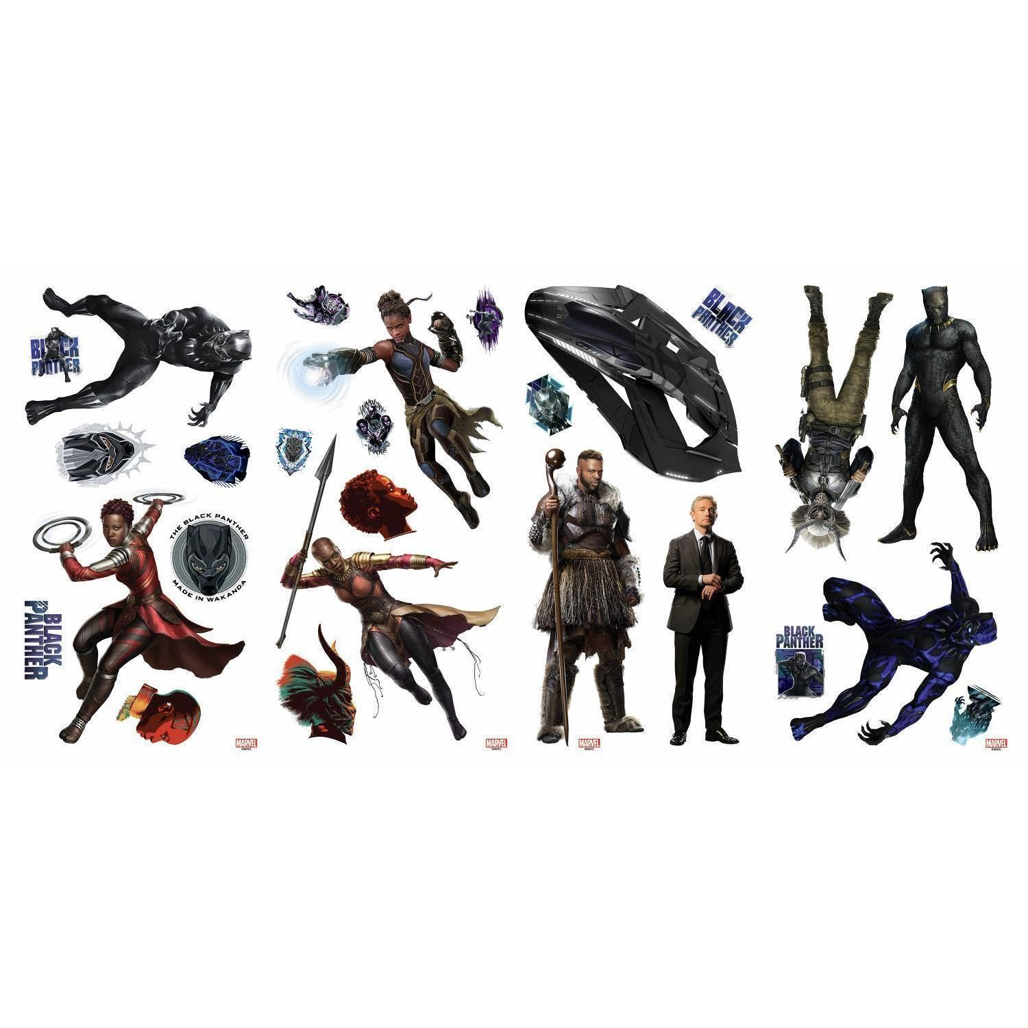 New  BLACK PANTHER Movie WALL DECALS 26 Kids Marvel Superheroes Room Decor Stickers