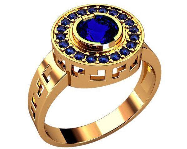 Yellow Gold Signet Ring Blue Stones Signet Ring Unique Men Signet
