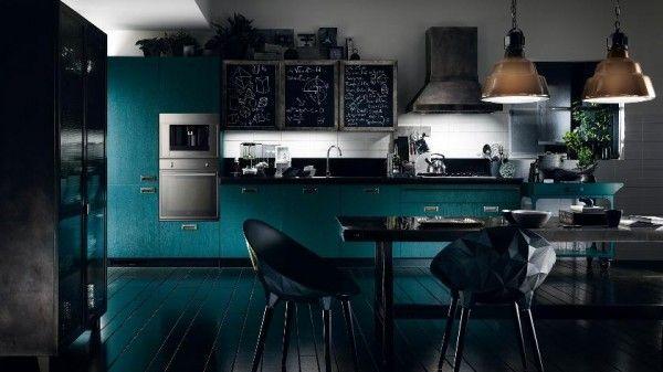 moderne küchen scavolini türkisblau schwarz essbereich