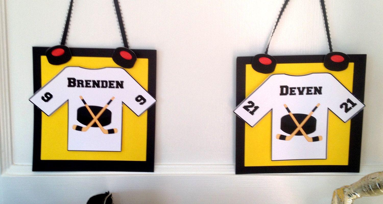 Hockey door hanger sign on their lockers or hotel room for Hotel door decor