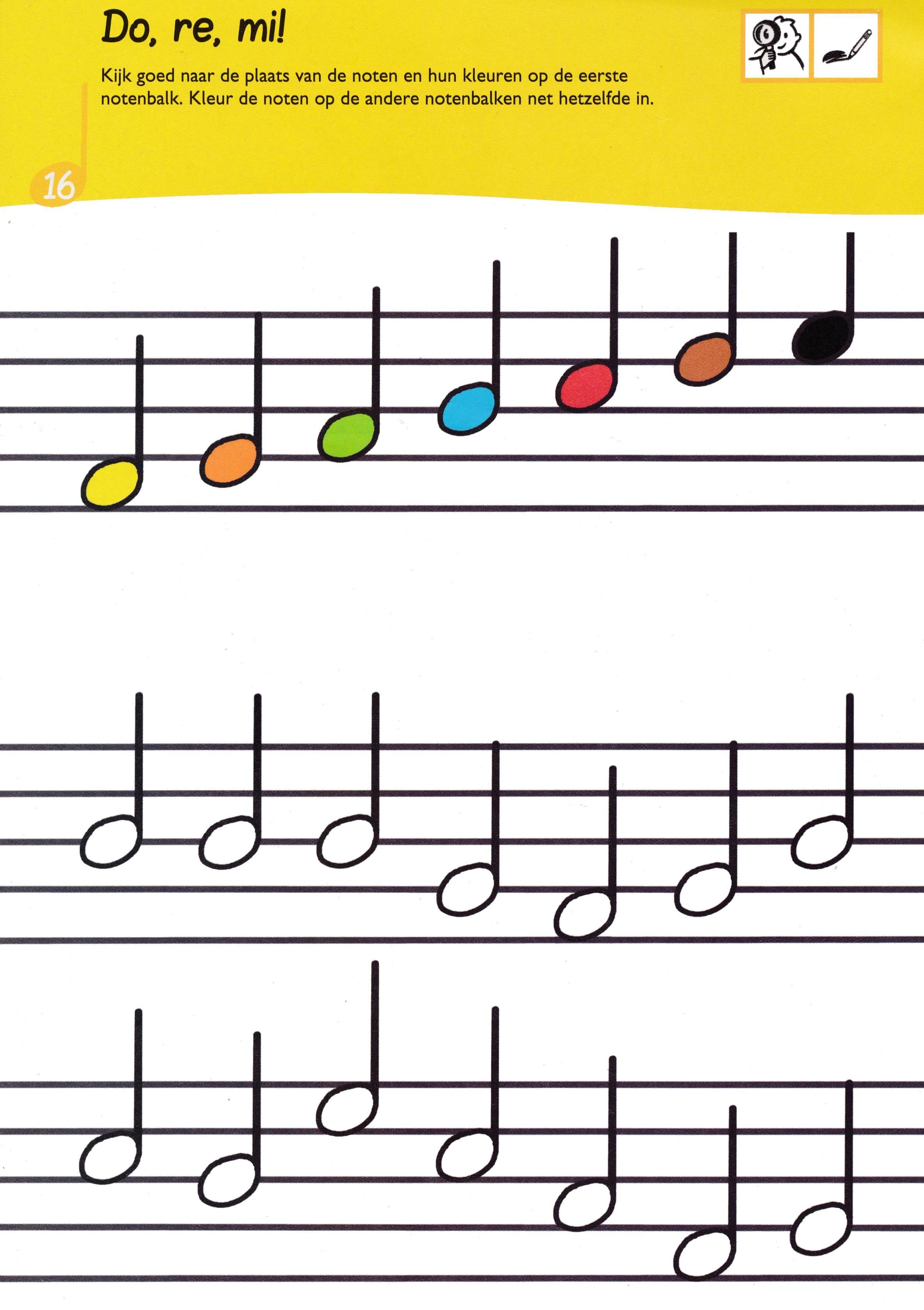 Gebruik De Kleurencode Van De Bovenste Notenbalk Om De Onderste Noten De Juiste Kleur Te Geven Muziek Les Muziek Muziek Lezen