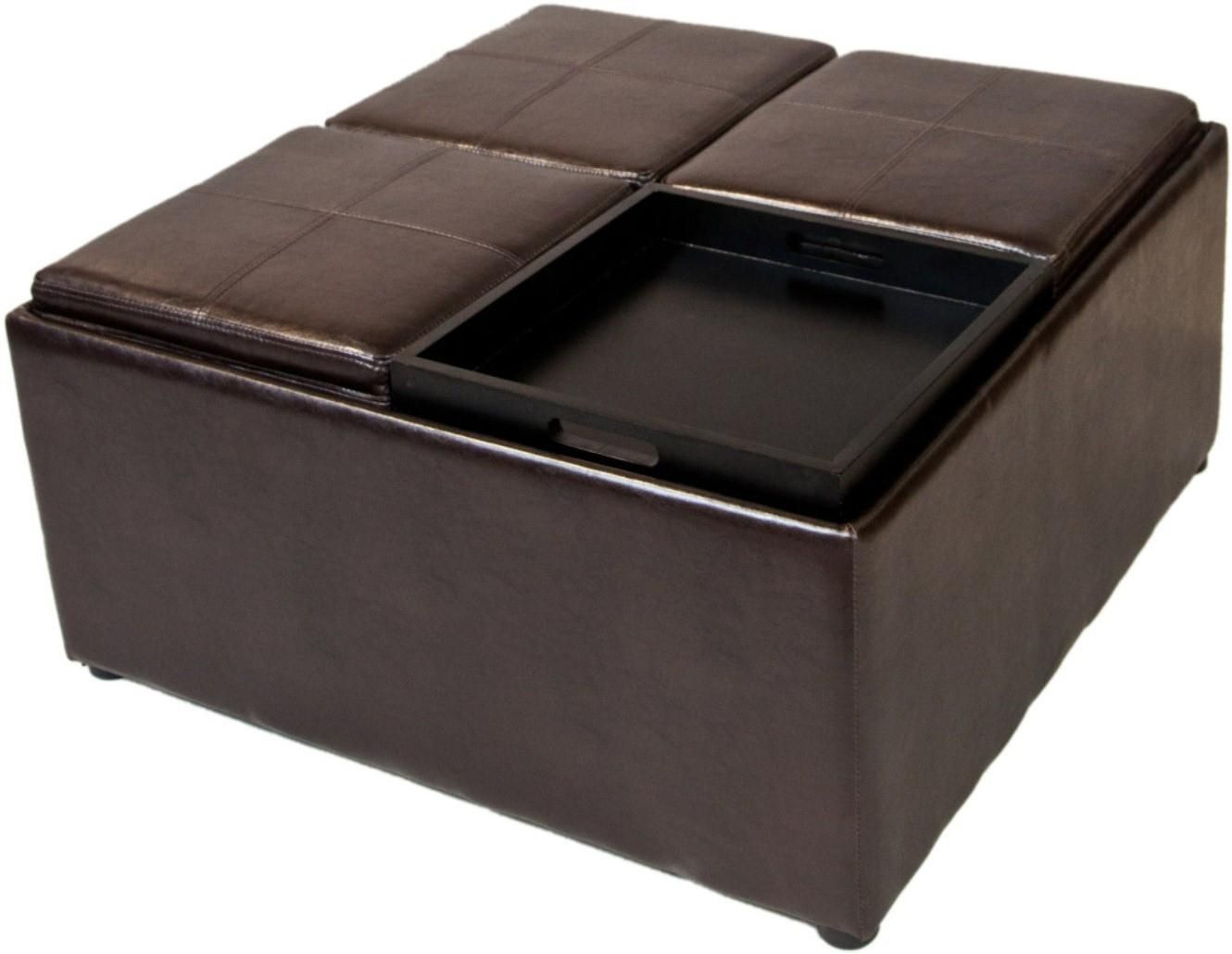 faux leather storage ottoman coffee table