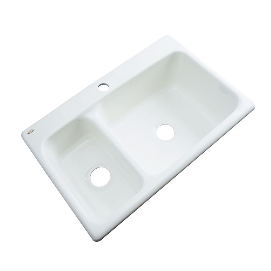 Dekor Master 22-In X 33-In White Double-Basin Acrylic Drop-In 1-Hole ...