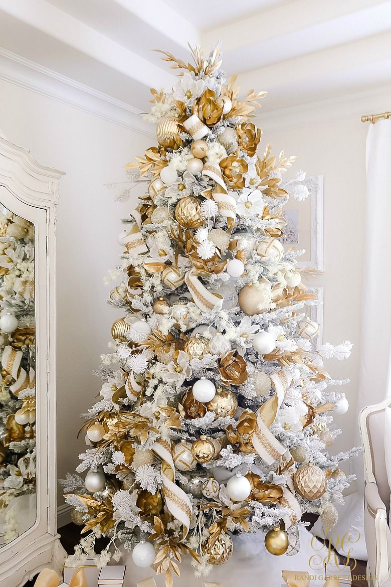 Elegant White And Gold Christmas Bedroom Tour Randi Garrett Design Elegant Christmas Trees Gold Christmas Decorations Gold Christmas