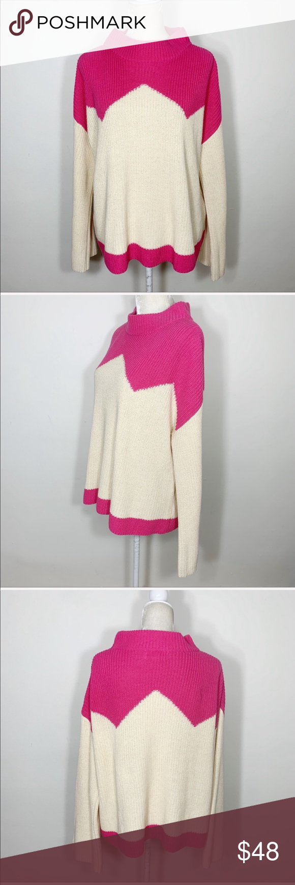 J Crew X The Reeds Pink Zig Zag Knit Sweater Knitted Sweaters Sweaters For Women Sweaters