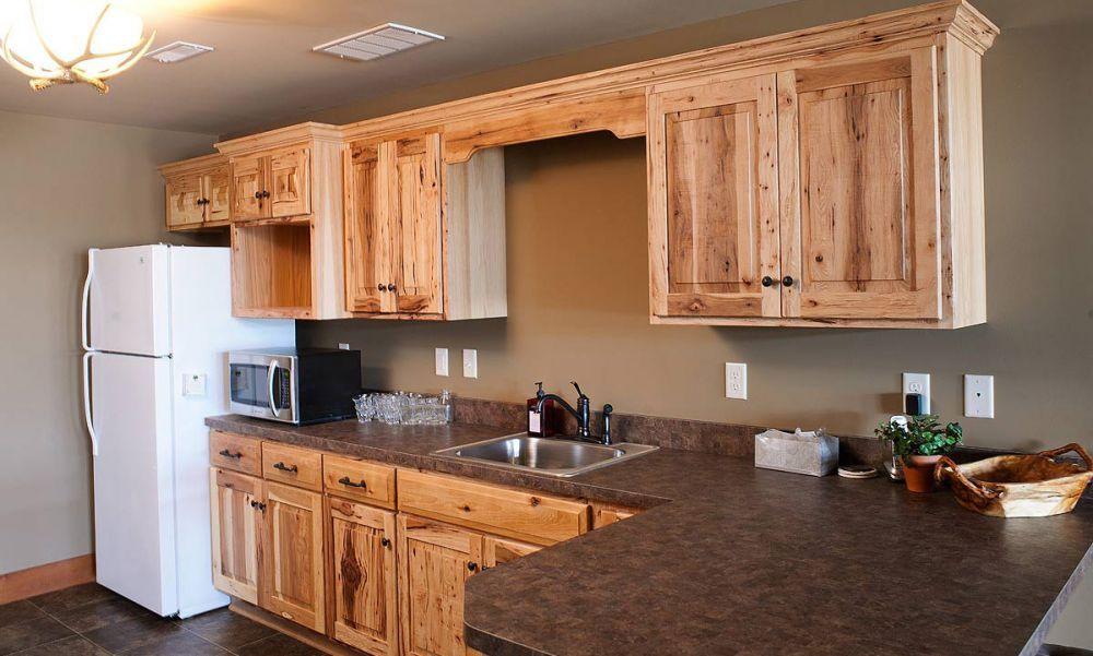 Simple Rustic Hickory Basement Kitchen - Kitchen Design ...