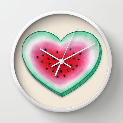 Summer Love - Watermelon Heart Wall Clock