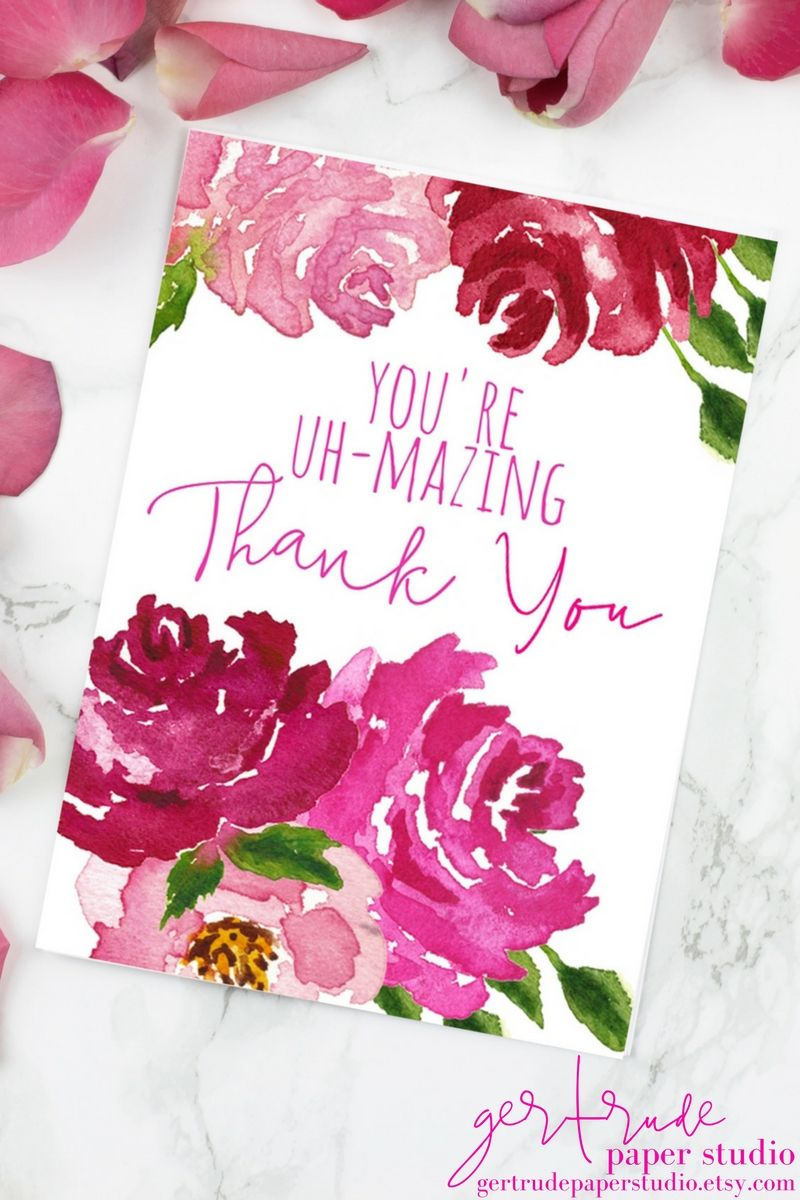Thank you card | pink watercolor flowers | bridal shower favors ...