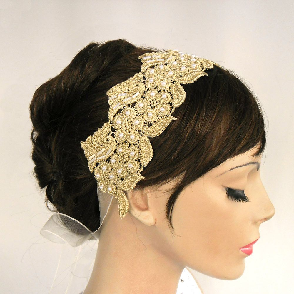 Modern Wedding Hairstyles For The Cool Contemporary Bride: Gold Lace Bridal Weddings Headband, Handmade, Unique