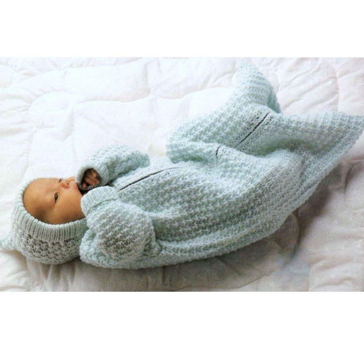 Knitting Pattern Baby Sleeping Bag Pixie Hood Cocoon Sleep Sack ...