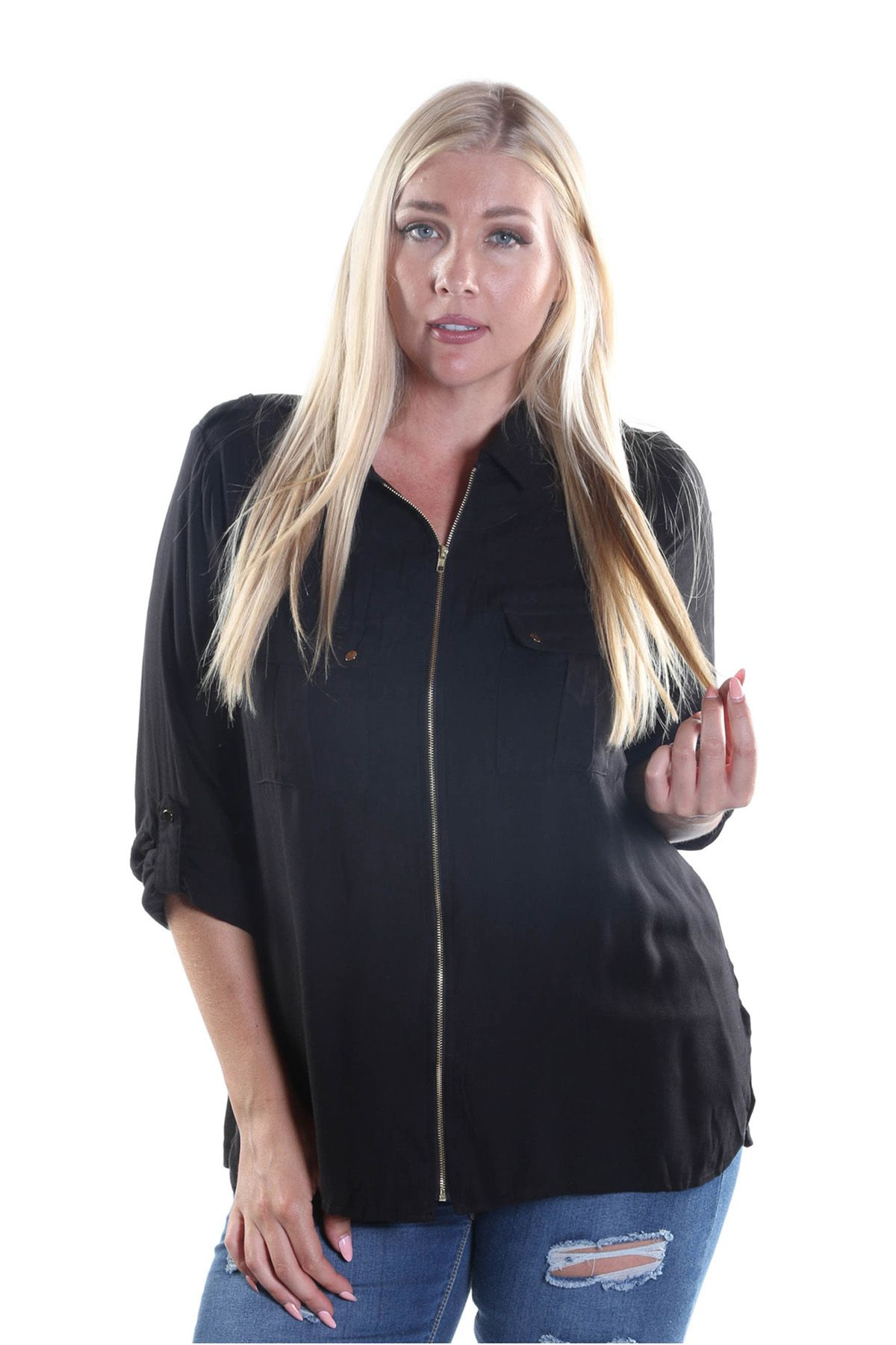 This black 3/4 sleeve with zipper front closure is a fun way to express yourself. #xehar #xeharstyle