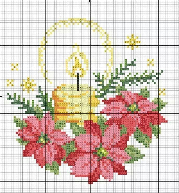 Candle Christmas cross stitch.