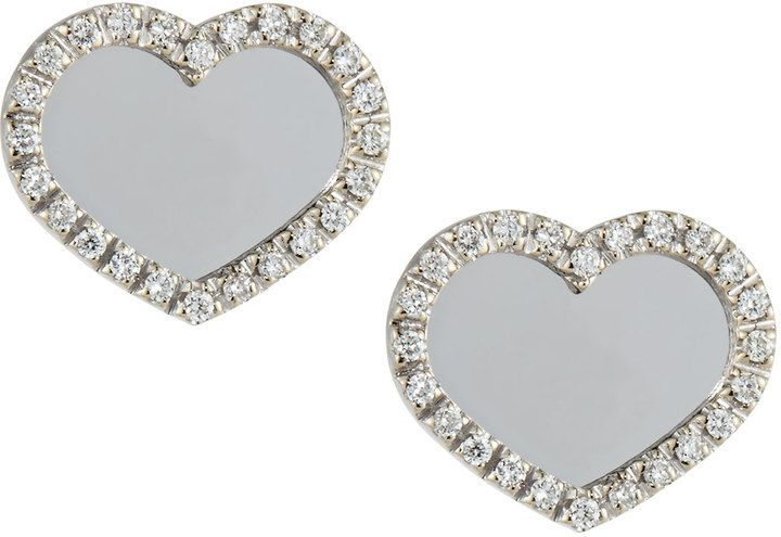 Nanis Mirrored Heart Diamond Post Earrings