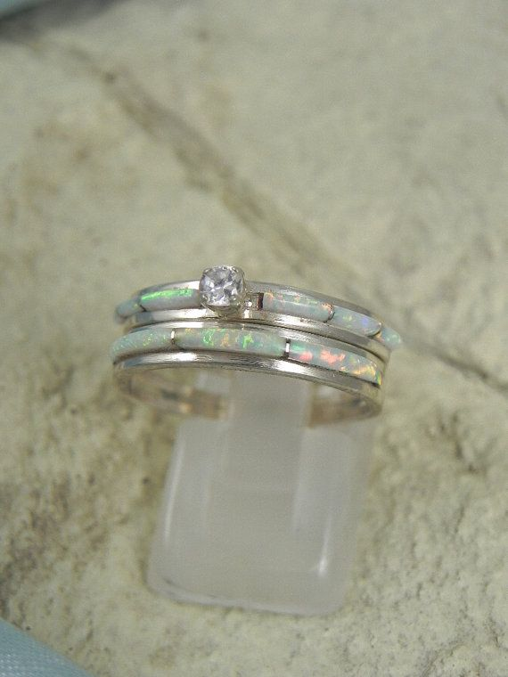 native american opal wedding ring set by hollywoodrings on etsy 10000 - Opal Wedding Ring Sets