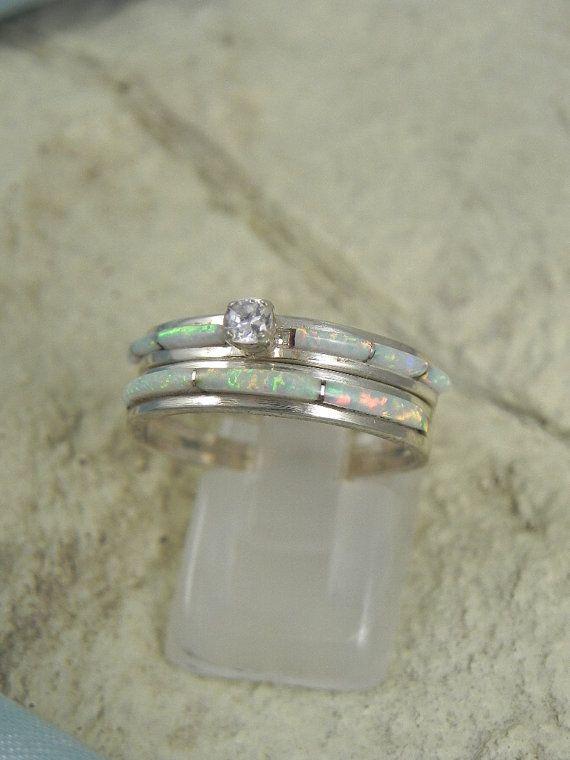 Native American Opal Wedding Ring Set Opal wedding ring set Opal