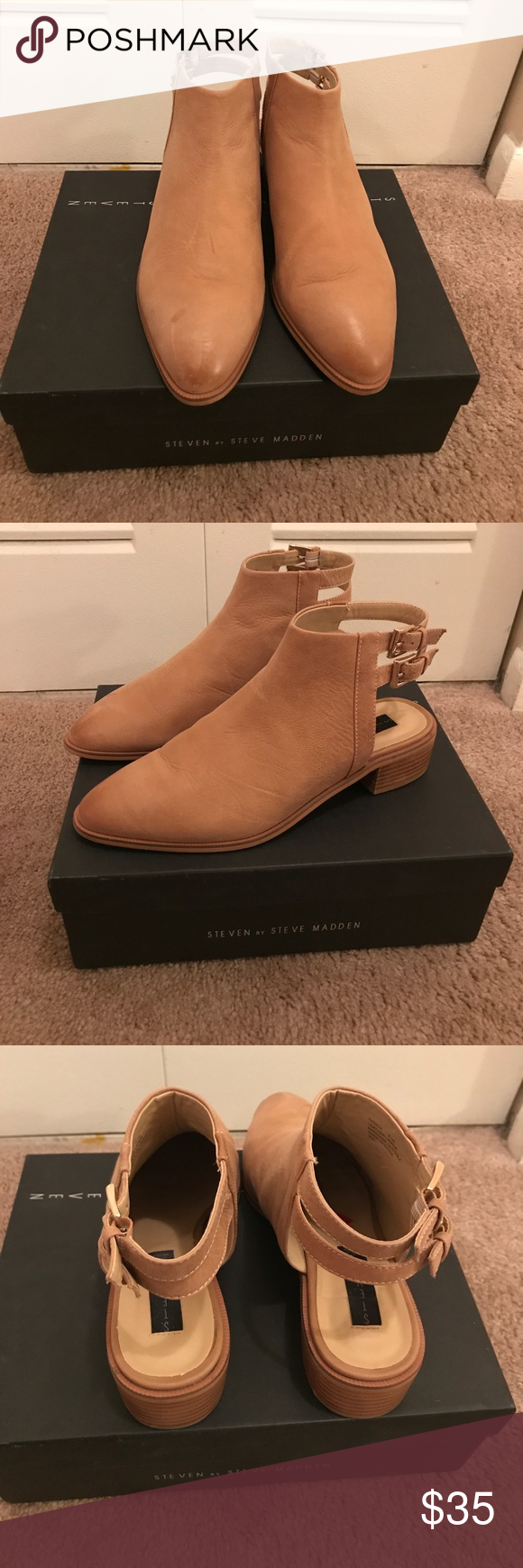 Steven by Steve Madden Nadiya Leather Booties Only worn once! Size In color  taupe le. One and a half inch heel. Steven By Steve Madden Shoes Ankle Boots  & ...