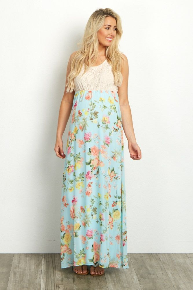 b7ae7caaa2 Light Blue Crochet Top Floral Chiffon Bottom Maternity Maxi Dress ...
