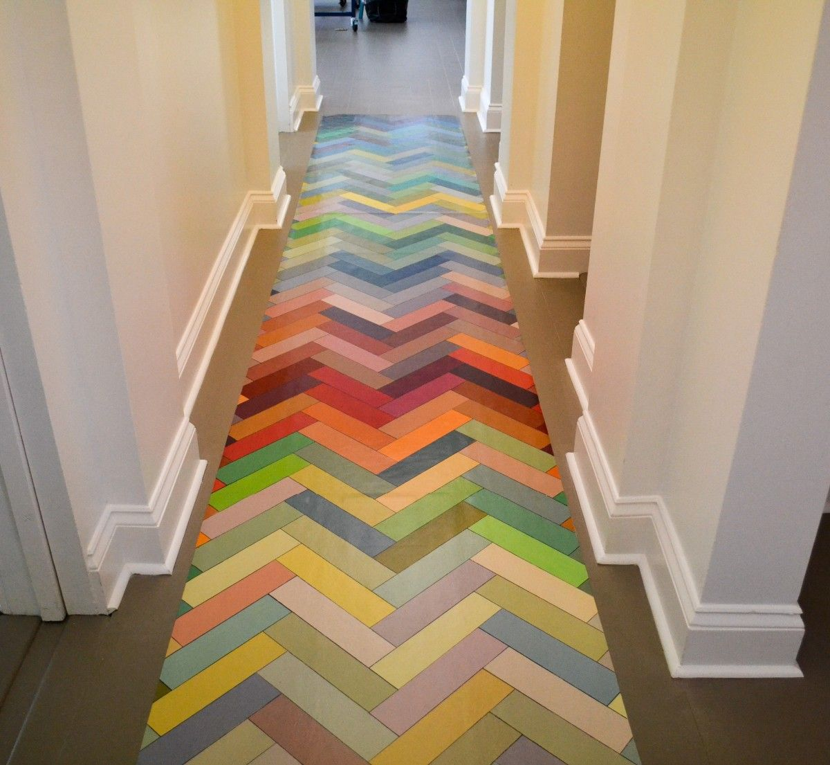 Herringbone Floor Cloth Idea - a piece of linoleum was painted with ...