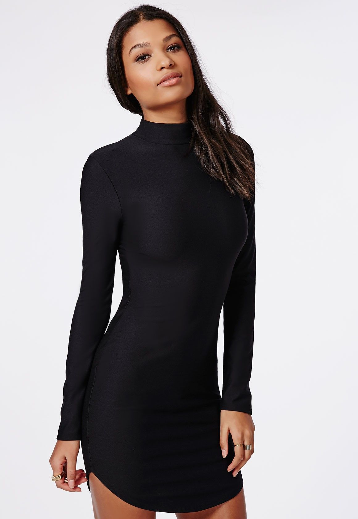 Missguided - High Neck Long Sleeve Curve Hem Mini Dress -8084