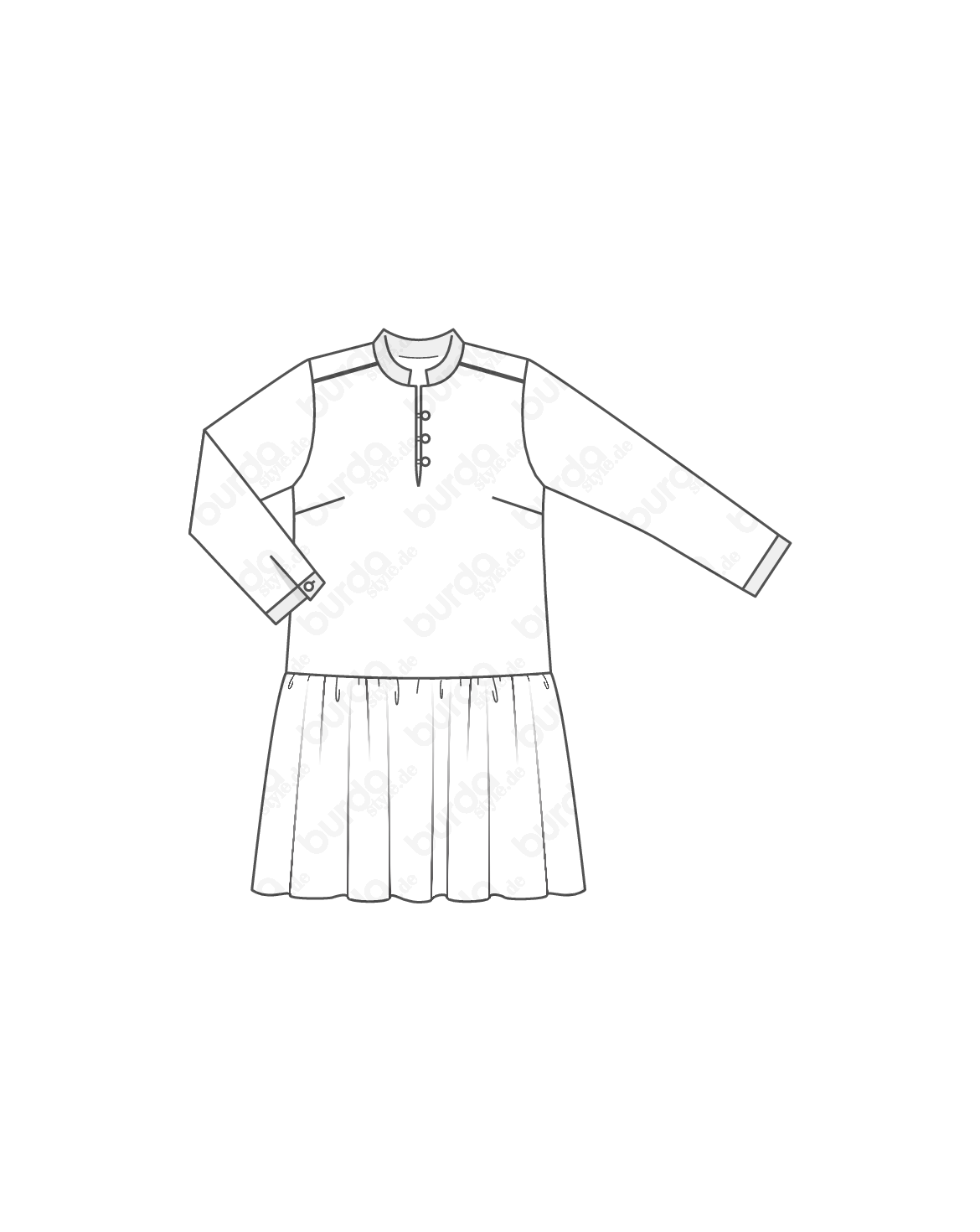 burda style, Schnittmuster, Kleid fs 2014 #431, Oben elegante Bluse ...