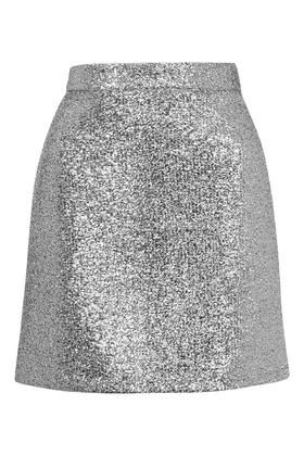 **Metallic Silver Tinsel Mini Skirt by Jaded London