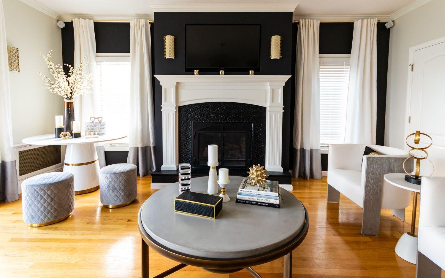 Neutral Living Room Iq Design Black Accent Wall Living Room Accent Walls In Living Room Contemporary Interior Design Living Room