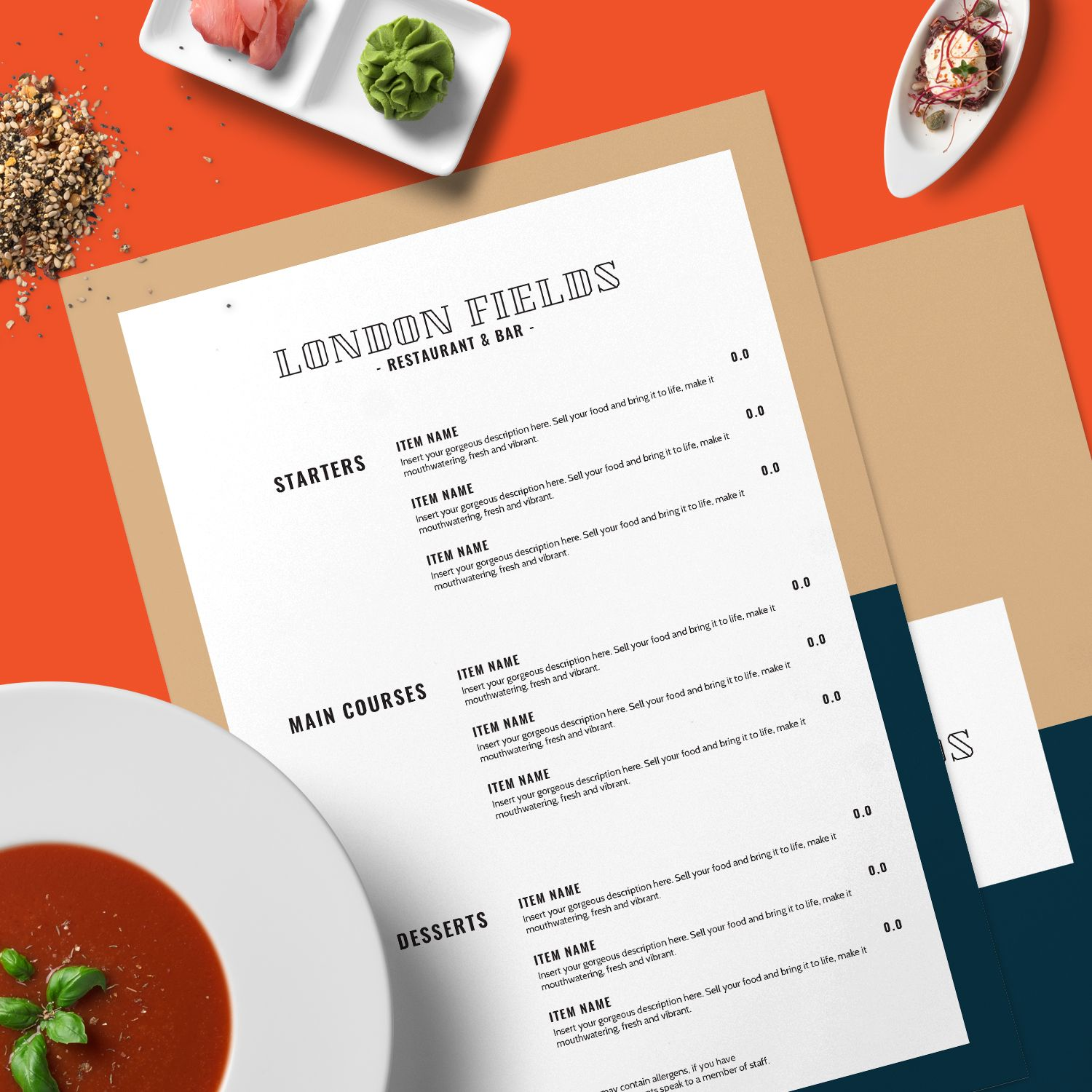 london fields | a contemporary menu design for a modern restaurant