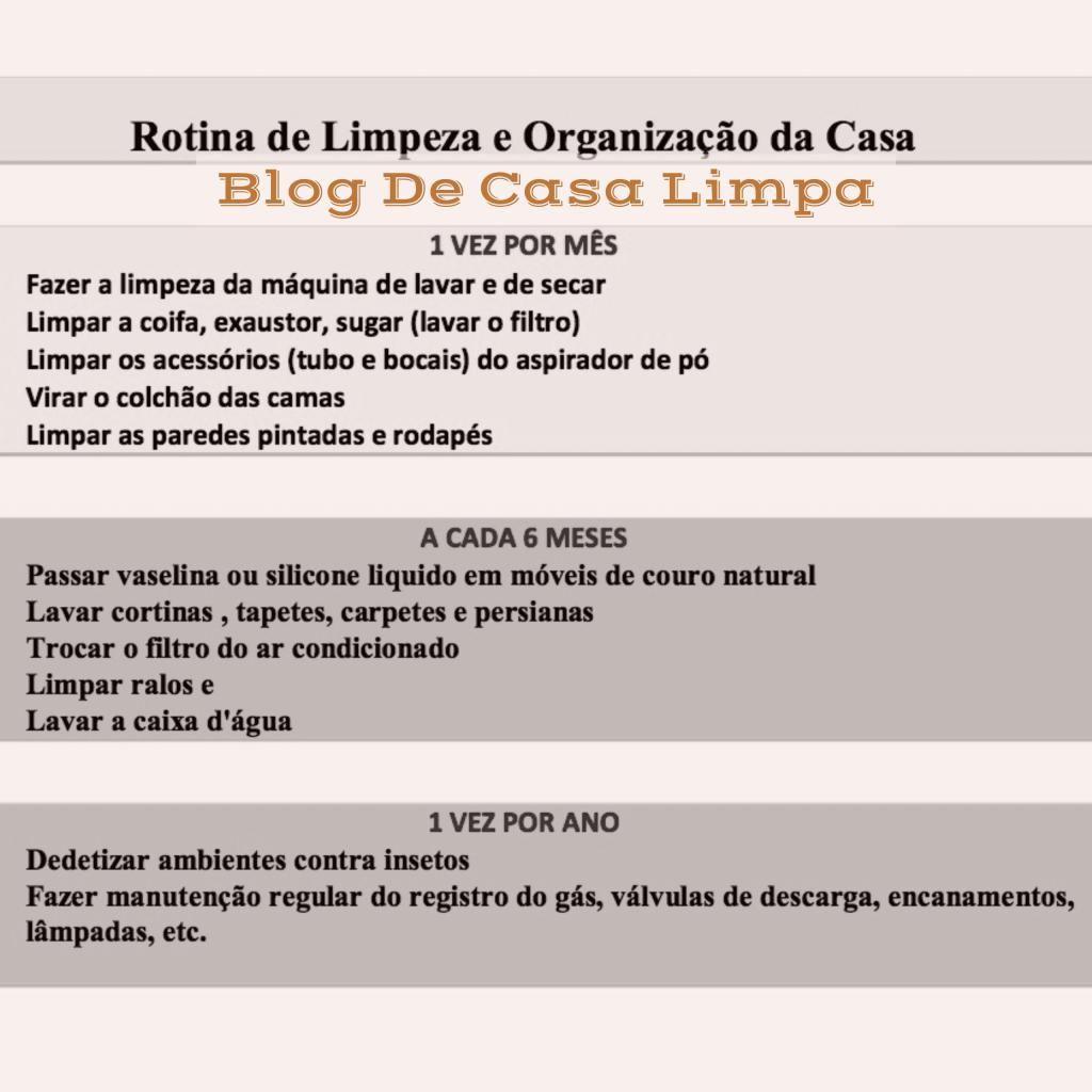 Rotina De Limpeza E Organiza O Da Casa Mensal Semestral E Anual