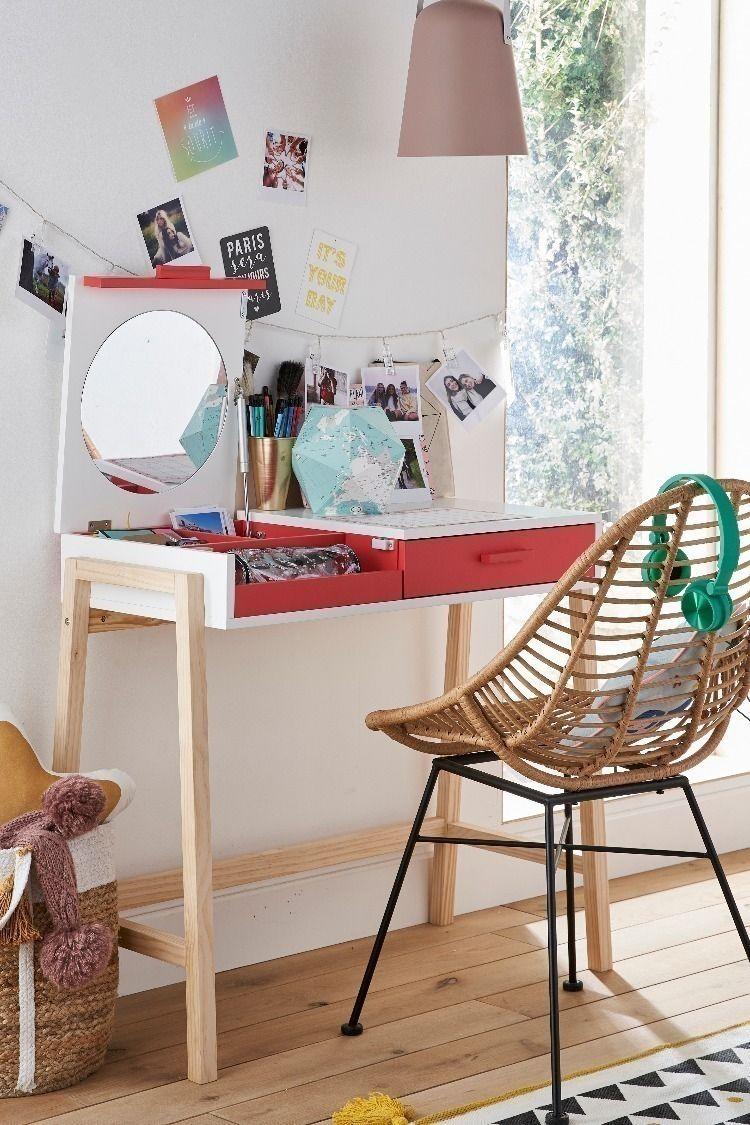 Bureau Plan De Travail bureau coiffeuse ligne lollipop blanc/framboise - vertbaudet