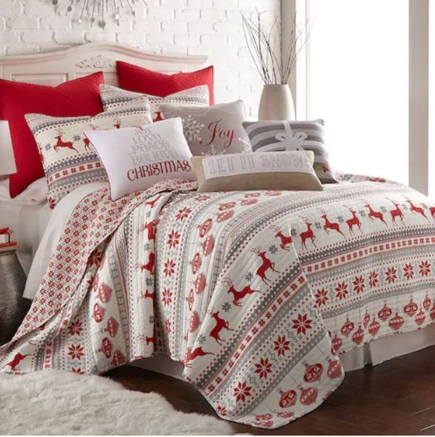 Sleigh Bells 3 Piece Quilt Set is a beautiful Christmas bedding set