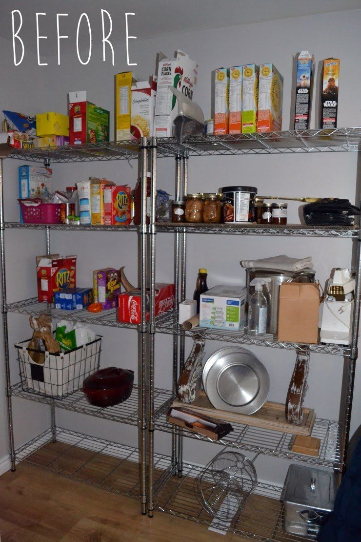 Rustic farmhouse pantry shelving makeover from basic wire shelving ...