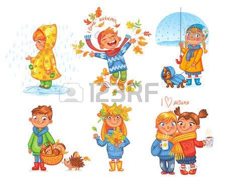 niños jugando caricatura: Me encanta el otoño. El muchacho lanza ...