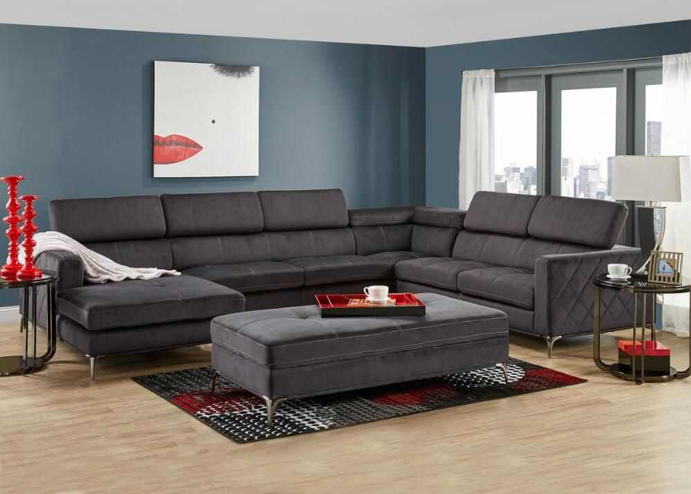 Room Place Sectional W Chaise  Finished Basement Movie Room Adorable The Room Place Dining Room Sets Review