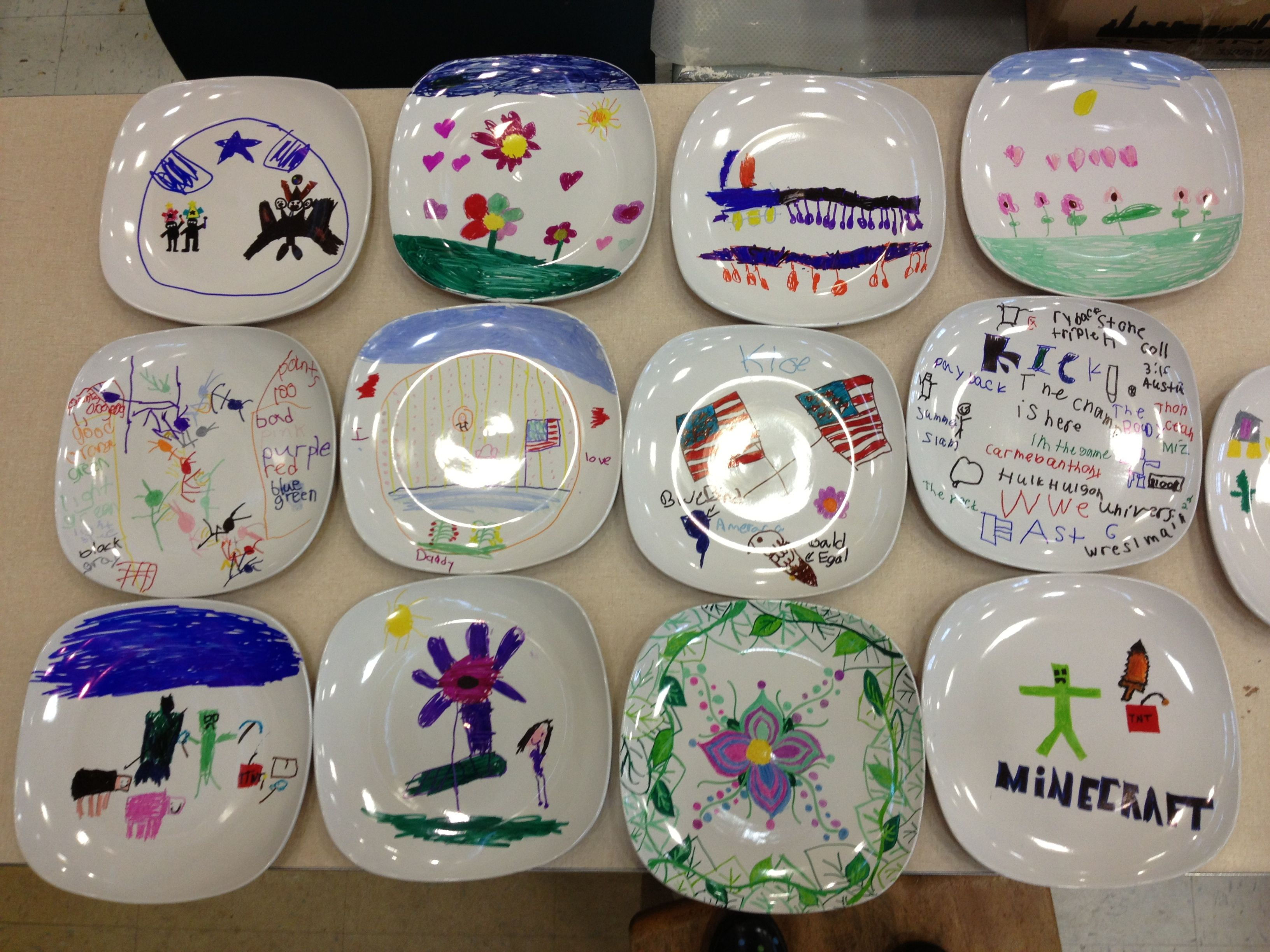 Ceramic plates decorated with Sharpie markers! If you bake them in the oven for 30minutes at 350 and let them cool completely you can wash them! & Ceramic plates decorated with Sharpie markers! If you bake them in ...