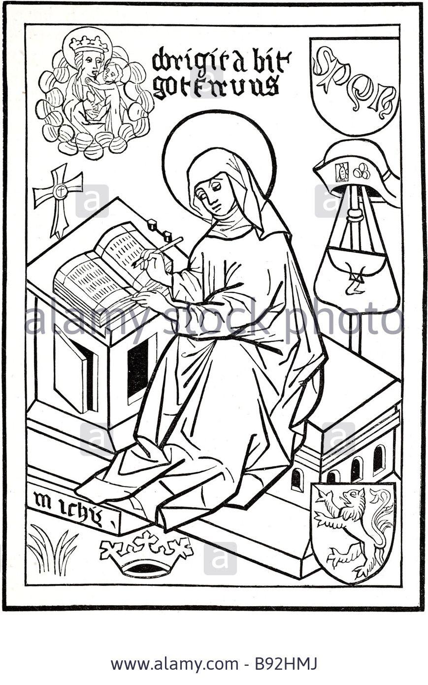 St Bridget Of Sweden 1302 1373 Virgin Figure Christ Birgitta Birgersdotter B92hmj Jpg 869 1390