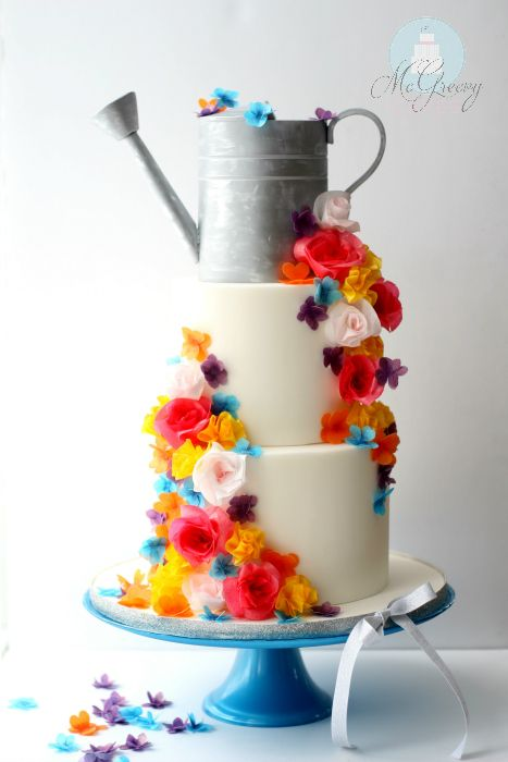 Quick and easy wafer paper flowers and watering can cake!