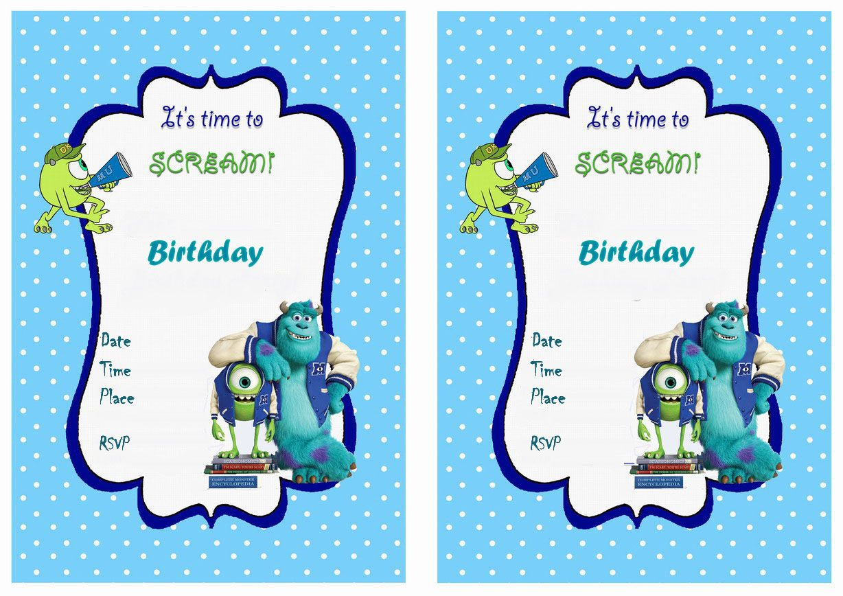 Monster Inc Birthday Card Image Collections Free Birthday Cards