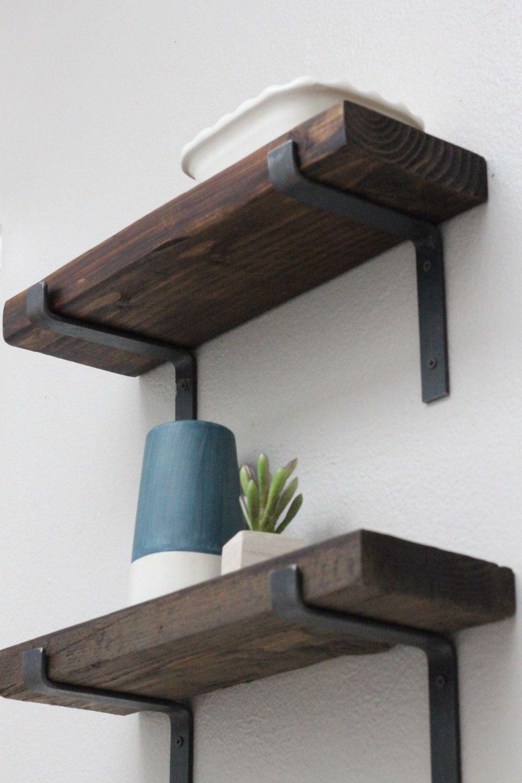 Black Shelf Brackets Modern Shelving Hardware Metal Screws Included Metal Shelves Modern Shelving